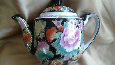 Vintage  Chinese  Black Floral Hand Painted Porcelain  Teapot