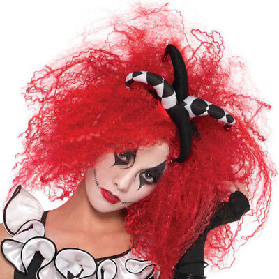 Ladies Womens Red Crimped Wig Halloween Fancy Dress Costume Accessory 5133bd73a5