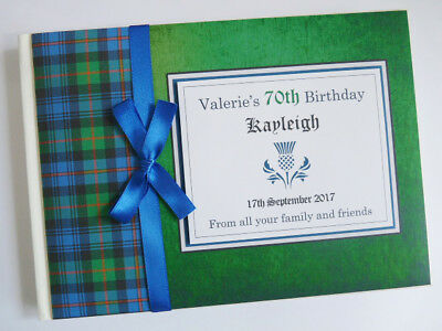 Personalised Scottish Theme Tartan Birthday/retirement/wedding Guest Book