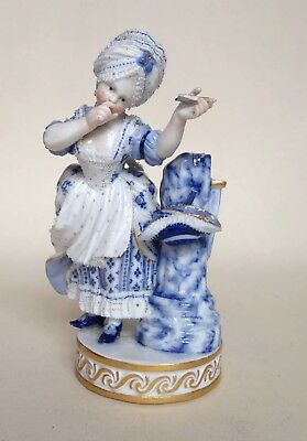Antique Meissen B&W Porcelain Figurine - Lady with Arrow - Delicate Lacework