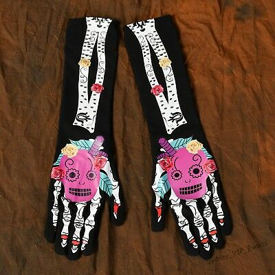 Halloween Party Day Of The Dead Long Gloves Skeleton Skull Costume Dress Up