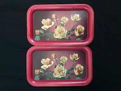 Vintage/Midcentury Set of Two/Pair Red Metals Trays with Yellow Roses