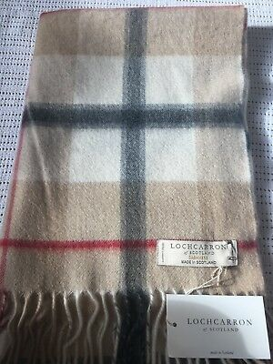 Country Camel Check Tartan Double Width Scarf Cashmere Made in Scotland