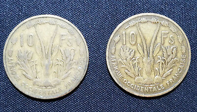 Lot Of 2 French West Africa 1956 10 Francs Coins!