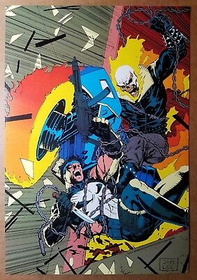 Ghost Rider Vs The Punisher Marvel Comics Poster by Jim Lee