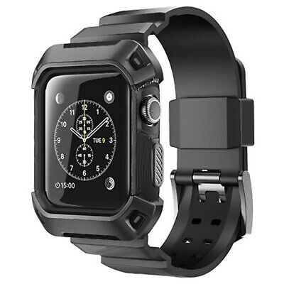 Heavy Duty Tough Armor iWatch Case Strap Band for Apple Watch Sport Series 3 2 1