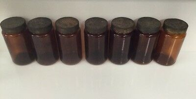 Set Of Seven Vintage/shabby Chic Storage/apothecary Amber Jars.