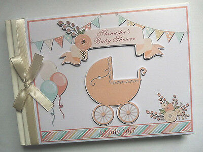 Baby Carriage Unisex Baby Shower Personalised Guest Book - Any Design