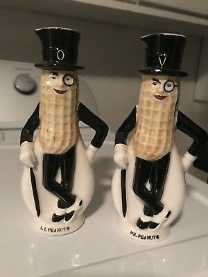 Planters Mr Peanut Ceramic Oil and Vinegar Set,Made in Japan-Small Chip