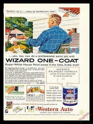 1950s Print Ad~Vintage~1956~Wizard Paint~House~Western Auto~Color~I600