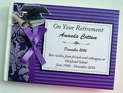 Personalised Teacher Retirement Guest Book - Purple