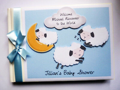 Personalised Little Lamb Themed Baby Shower Boy Guest Book - Any Design