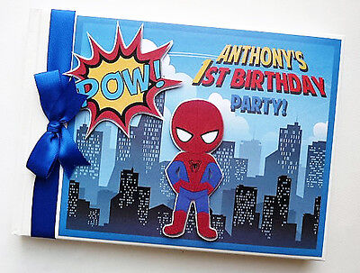 Personalised Spider Boy (Spiderman) First/1St Birthday Guest Book Any Design
