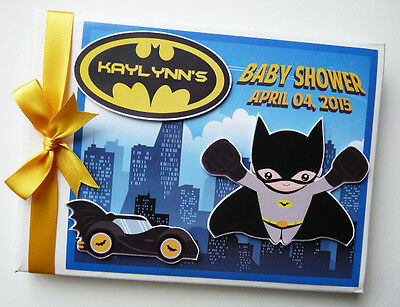 Personalised Bat Boy (Batman) Boys First/1St Birthday Guest Book Any Design
