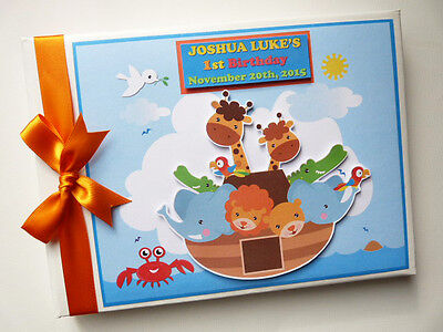 Personalised Noah's Ark  First/1St Birthday Guest Book Any Design