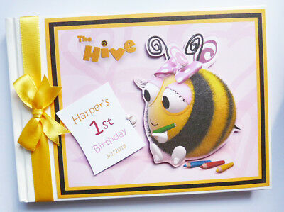 Personalised Bee Theme /girl /first/1St Birthday Guest Book - Any Design