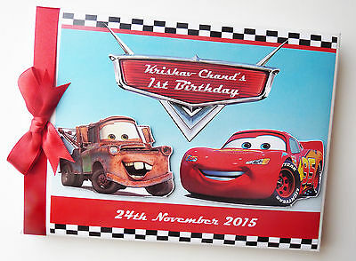 Personalised Disney Pixar Cars Boys First/1St Birthday Guest Book Any Design