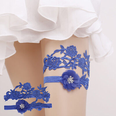 FT- Sexy Flower Lace Shiny Rhinestone Wedding Bridal Leg Garter Thigh Ring Mysti