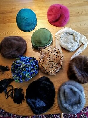 Vintage Lot Of 10 Womens Ladies Hats, Kangol, Union Made & Others 1940s 1950s