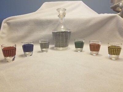 Vintage MID CENTURY France HOUNDSTOOTH Decanter Set.