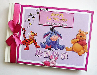 Disney Winnie The Pooh  And Friends Girl 1St Birthday Guest Book - Any Design