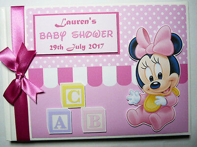 Personalised Disney Baby Minnie First/1St Birthday Guest Book -  Any Design