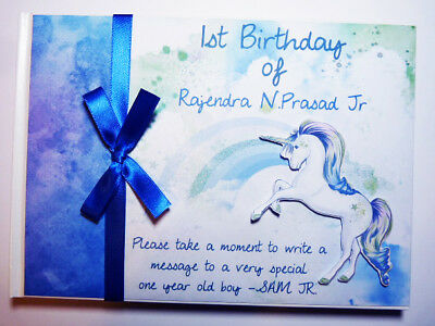 Unicorn Birthday Boy/baby Shower/time Capsule Personalised Guest Book