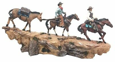 Western Country Cowboy Riding on Horse Over Narrow Ledge Figurine Resin Statue