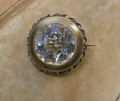 Lovely Tiny Antique Silver Gilt Rock Crystal Lace Pin