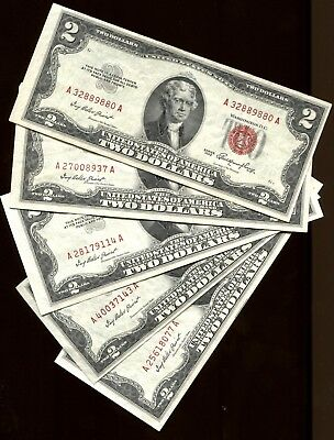 Lot Of 5 1953 $2 Red Seal Notes Lightly Circulated Au/cu Crisp Currency #9054