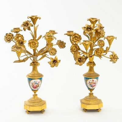 Set of 2 Antique c.1890s Sevres Porcelain Candelabra w. Gold Ormolu Flowers 17""