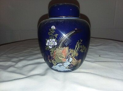 VINTAGE GINGER JAR Cobalt Blue Painted Pheasant/Gold Trim KUTANI STYLE IMPERFECT