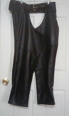 California Creations Leather Chaps Black Zip & Snaps Size XL USA Made  EUC