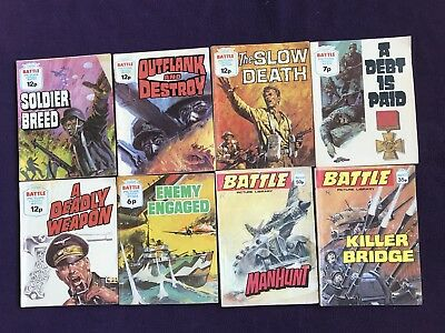 "8 ""BATTLE PICTURE LIBRARY"" Boys UK Comics War Combat Adventure"