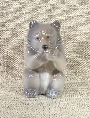 "Royal Copenhagen Denmark 3.5"" Glazed Porcelain Eating Bear Figurine #3014"