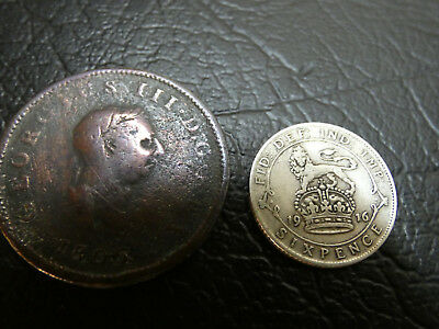 Half Penny 1806 & RARE date 1916 Silver Six Pence