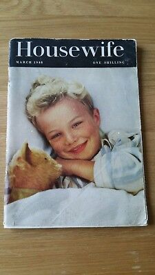 HOUSEWIFE MAGAZINE March 1948 Fashion Style Design Recipes etc. Colour Adeverts