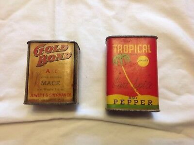 Two Rare Paper Label Spice Tins Gold Bond Mace And Tropical Red Pepper