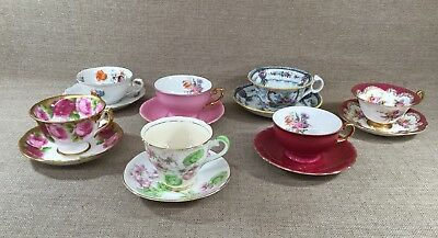 Mixed Collection Of 7 Porcelain Bone China Tea Cups And Matching Saucers
