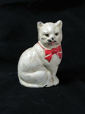 Rare Antique Hubley Figural White Cat with Red Bow Tie Cast Iron Bank  Glass Eye