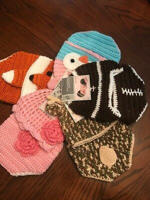 💖💙 Newborn- 9mo Crochet Diaper Cover And Hat LOT..NWT..5 Sets/3 Booties