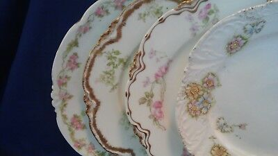 "Lot of 4 Mismatched Fine China Buffet/Luncheon/Dessert Plates 8 1/4"" - 8 1/2"""