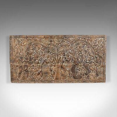 Large 6 Foot Antique Carved Panel, Indian, Decorative Art, Victorian, Circa 1900