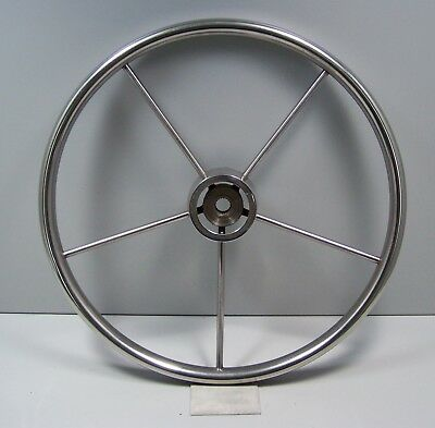 """Vintage Stainless Steel Authentic 16"""" Five Spoke Sailboat Ship Helm Wheel NICE!"""