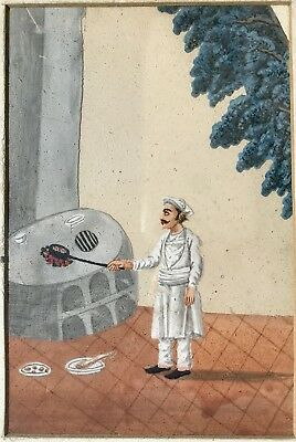 19th Century Indian Painting on Mica - Man Cooking Outdoors