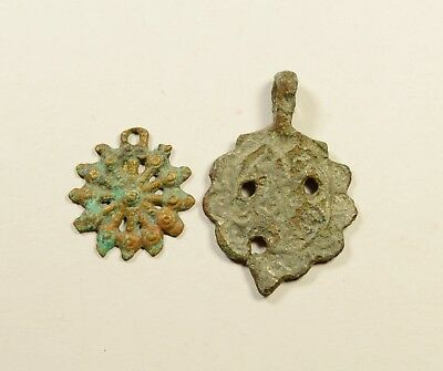 Great Lot Of 2 Ancient Roman To Post Medieval Bronze Pendants - Nice Artifacts