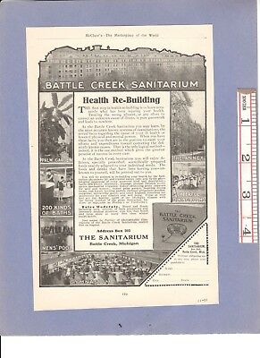 Vintage 1911 Ads: BATTLE CREEK SANITARIUM Restores Health & ROYAL TYPEWRITERS