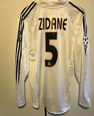 Real Madrid jersey trikot maglia 2004-05 Zidane #5 Champions League Long Sleeve