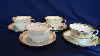 Lot of 4 Mismatched Fine China Cup and Saucer Sets Banded Florals