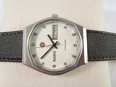 100% Auth Vintage RADO VOYAGER Automatic Day-Date Swiss Made Men's Wrist Watch